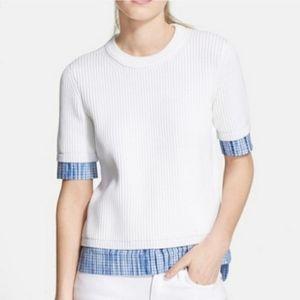 Tory Burch XL white short sleeve sweater blue top